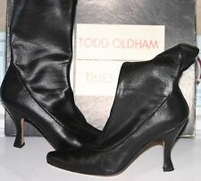 Vintage TODD OLDHAM Med Calf Leather Pull On Pointy Toe Boots -Black - Sz 7.5