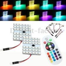 2x T10 Festoon BA9S RGB LED for Car Dome Reading Light Lamp Bulb+ Remote Control