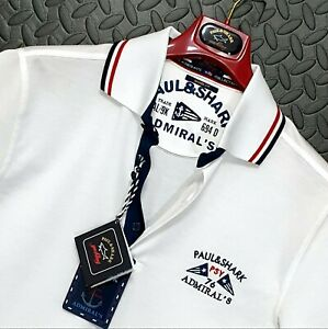 """⭐ Paul & Shark Yachting The Admirals Collection slim fit polo shirt white L 40"""""""