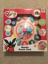 Bing Bunny Wooden Puzzle Clock with Stand (New and Sealed)