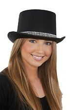 Black Satin Top Hat with Rhinestone Band Steampunk Dance Costume Accessory fnt