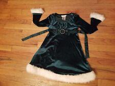 Girl's Sz 6 Bonnie Jean Christmas Holiday Dress Dark Green Velvet White Fur Trim