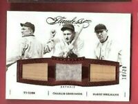 TY COBB CHARLIE GEHRINGER HARRY HEILMANN GAME USED BAT JERSEY CARD #d20 FLAWLESS
