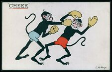 art MAY dressed Monkey boxing Black Americana original old 1910s postcard