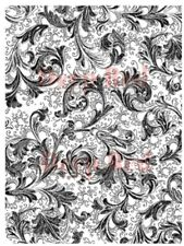 Deep Red Cling Rubber Stamp Rubber Stamp Floral Trumpets Swirls Background