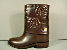 "CHANEL DARK BROWN LEATHER CAMELLIA ""CC"" MOTORCYCLE BIKER ANKLE BOOTS 37/7 NEW"