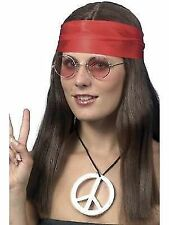 60s Hippy Chick Wig Glasses Headband and Necklace Ladies Instant Costume Kit