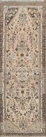 Muted Semi Antique Geometric Hamedan Distressed Hand-knotted Runner Rug WOOL 3x8