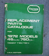Triumph Motorcycle Manual Parts Book Trident T150 T150V 750Cc 1972 3 Cylinder