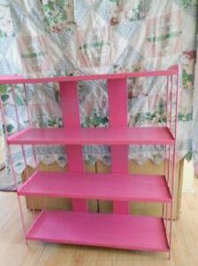 Mid Century Modern Pink Vintage Metal Bookshelf 4 Shelves US Ship & CA Pickup