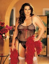 Shirley of Hollywood Women 16-18 Sheer Black Teddiette Designer Lingerie Plus