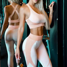 Womens Seamless workout top yoga pantsuit Fitness Sports Suits three piece Gym