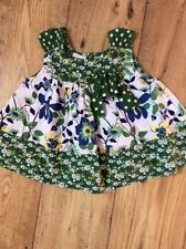 Unusual Cute Green White & Blue Floral Tunic Top NEXT 3 Yrs