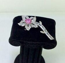 Beautiful 925 Flower 0.02 Carat Diamond and Crystal Flower Brooch Pendant