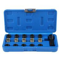 16Pcs 14mmx1.25 Spark Plug Thread Repair Tools Kit M16*1.25mm 70mm Tap with Case