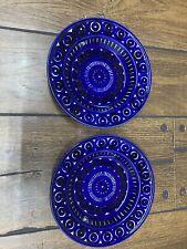 "2 Arabia Finland Valencia 9"" Large Rim Soup Bowl Plate Cobalt Blue Ulla Procope"
