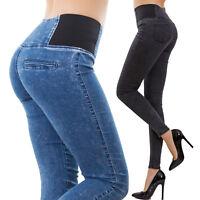 Jeans donna vita alta pantaloni jeggings skinny slim aderenti sexy nuovi W0330