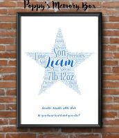 Personalised Star New Baby Boy Girl Word Art Birthday Christmas Gift Keepsake