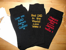 PERSONALISED FATHERS DAY GIFT SOCKS {OWN THREAD & UR OWN~SHORT MESSAGE+GIFT BAG}