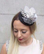 Black White Dark Grey Statement Feather Fascinator Pillbox Hat Vintage 1940 2795