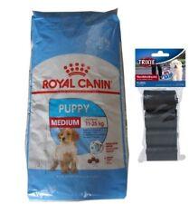 15kg Royal Canin Medium Puppy Junior + 80 Stk. Kotbeutel