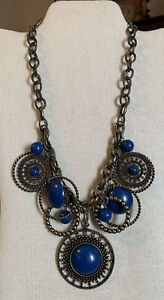 """Vintage Blue Beaded Medallions Bronzed Color Chain Link Charm Style necklace 22"""""""