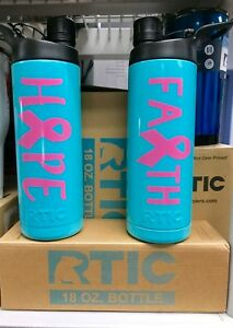 RTIC 18oz Water Bottle Powder Coated Teal with Faith or Hope Vinyl