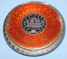 New listingAntique Silver & Guilloche Enamel Powder Mirror Compact - Austrian