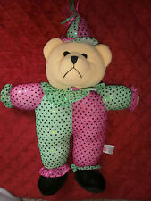 SUGAR LOAF USED PLUSH  BEAR  CLOWN/ JESTER CLOTHS 15 INCH WITH HAT 17 INCHES
