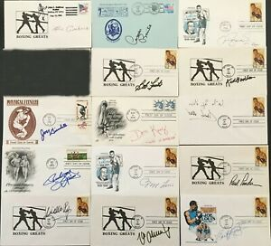 14 boxing HOFer signed autographed cachets FDC Don King Willie Pep Max Schmeling