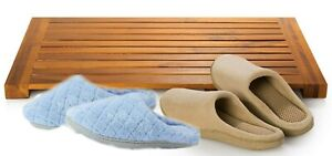 "100% Teak Wood 16"" x 24"" Bath Tub Shower Mat. Water-resistant Indoor / Outdoor."