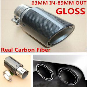 100% Carbon Fiber Exhaust Tip Pipe 63MM IN/ 89MM OUT Muffler Tip Gloss Universal