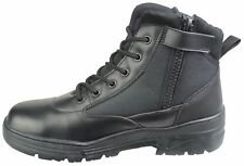 Black Leather Army Patrol Combat Mid Boots SIDE ZIP Cadet Security Military 915