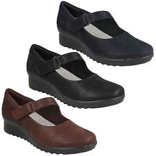 CADDELL YALE LADIES CLARKS CLOUDSTEPPERS WEDGE MARY JANE CASUAL TROUSERS SHOES