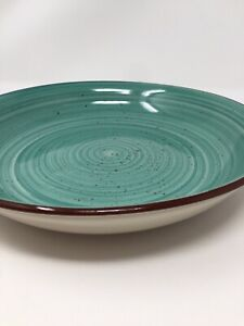 """Gibson Home Speckled Large Pasta Bowl Stoneware 10.5"""" Aqua Teal Blue-Green"""