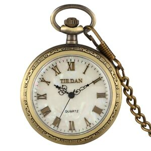 Shell Dial Pocket Watch Necklace Quartz Analog Watch Chain Gift relogio de bolso
