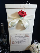 Wedding Card Post Box Ivory Red Personalised Rose Flower Gift Wishing Well