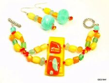 & Sterling Silver Earrings set Art Fused Glass Handcrafted Multicolor Bracelet