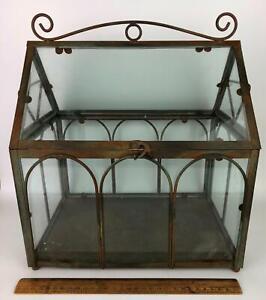 Indoor Shelf Plant Terrarium Glass Metal Trim Greenhouse