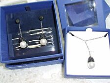 Authentic Swarovski Brand Swan signed Piano Earrings and Necklace Set $300 NIB