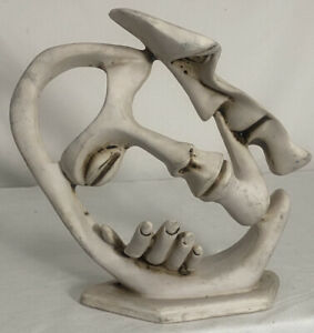 """Loving Kiss Abstract Sculpture Depicting Two Faces Art Modern Figurine 8 1/2"""""""