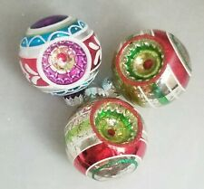 """Reflector Glass Ornament Set 3 Ball Red Silver White 2.5"""" Vintage Inspired"""