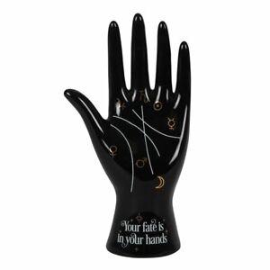 Palmistry Symbols Fortune Telling Statue Ceramic Hand Figurine (Black)