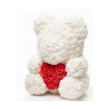 Weihnachtsgeschenk Rose Bear Flower Valentinstag Party Love Teddy 40cm Weiß Herz