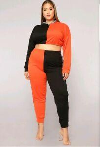 Fashion Nova Plus Let's Talk Active Set Black & Orange 2X
