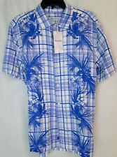 Tommy Bahama Lattice Bay Shirt in Santorini Blue Silk w/Linen MSRP $135 NWT - SM