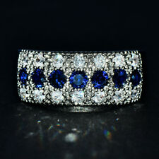 925 Silver Blue Sapphire Wedding Ring Fashion Jewelry Gift For Women Size 6-10