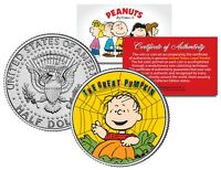 Peanuts LINUS THE GREAT PUMPKIN Spider Web JFK Half Dollar U.S. Coin - LICENSED