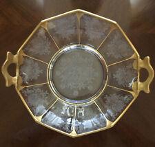 """Vintage Etched Gold Rimmed 9"""" Handled Bowl"""