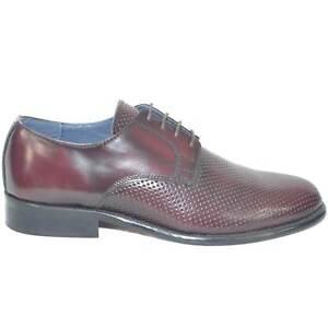 scarpe classiche uomo art.sc4402 vera pelle bordeaux made in italy microforata f